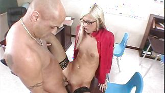 Exquisite Christine Alexis takes a fun ride on her male's hard slender jim