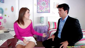 Delectable brown-haired Haylee Heart swallows a gigantic chopper with excitement