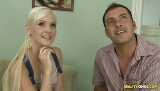 Tasty teen blonde sweetheart Dolly Spice reaches a very huge and massive big o