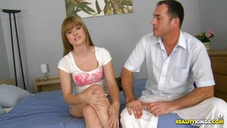 Charming redhead maiden Charlyse Bella enjoys riding a prick and reaches a giant top