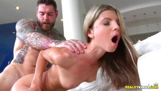 Delicious blonde babe Gina Gerson got fucked in many positions and got loads of cum all over her face