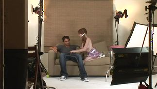 Redheaded teen bombshell Nikki Rhodes is dishy and receives a large boner