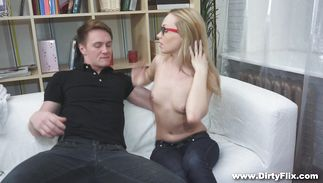Gorgeous blond Alla seduces a male with her sucking skills