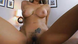Raunchy brown-haired Renae Cruz with huge tits is bent over the counter and intensely pounded