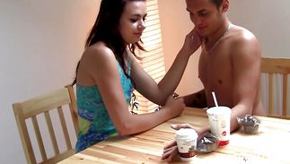 Cheerful brunette teen slut gives a hard oral job to her attractive fucker