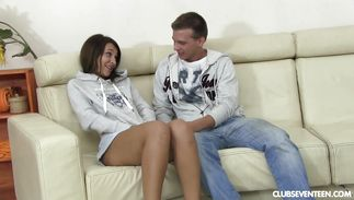 Sugary young brown-haired maiden Alexis Brill visited her playmate and ended up fucking him