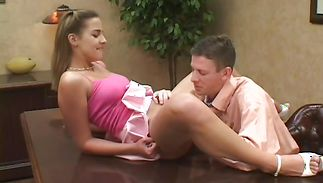 Startling legal age teenager sweetie Poppie eagerly bounces on a big boner